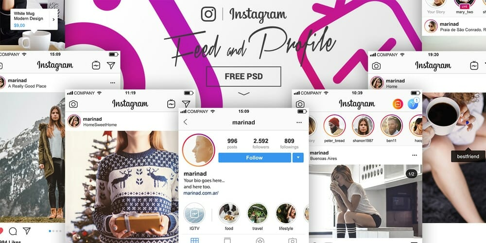 Free Instagram PSD Feed and Profile Complete UI
