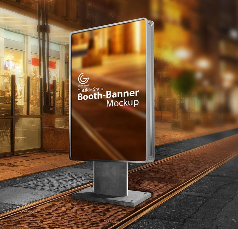 Free Outside Shop Booth-Banner Mockup