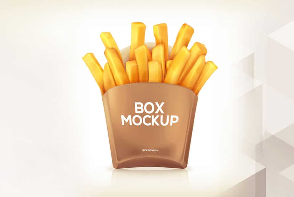 Free Potato Fries Box Mockup PSD