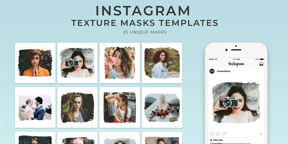 Free Textured Instagram Mask Templates PSD