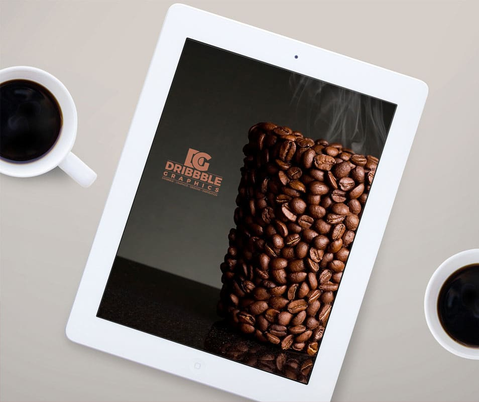 Free iPad MockUp with Coffee Cup