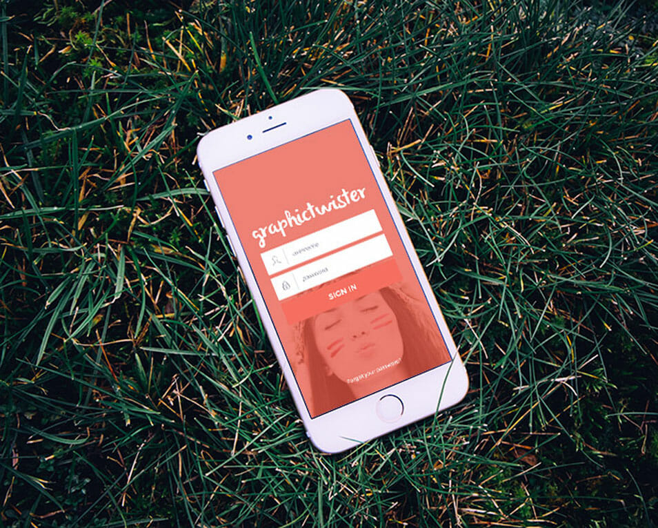 Gold iPhone 6 MockUp On Grass
