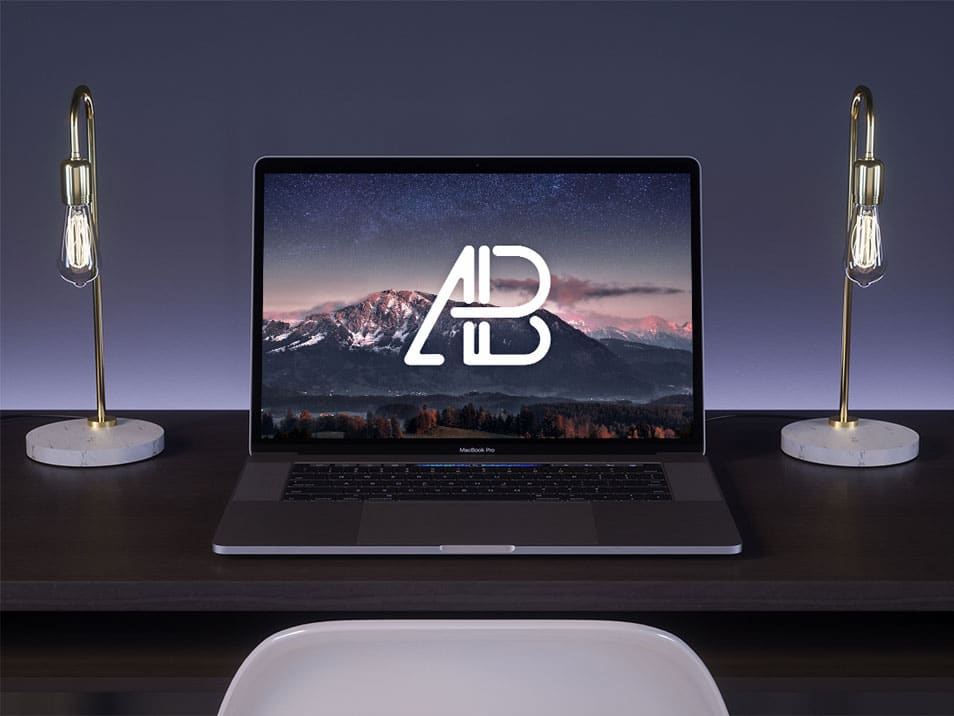 MacBook Pro On Desk Mockup