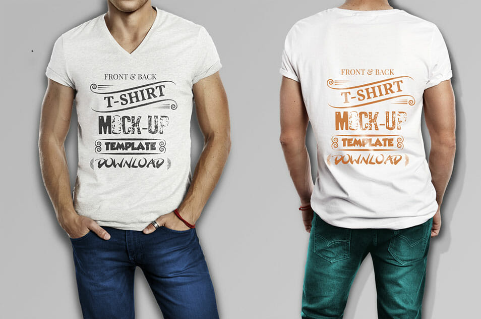 Muscular Men High Resolution T-shirt Mockup
