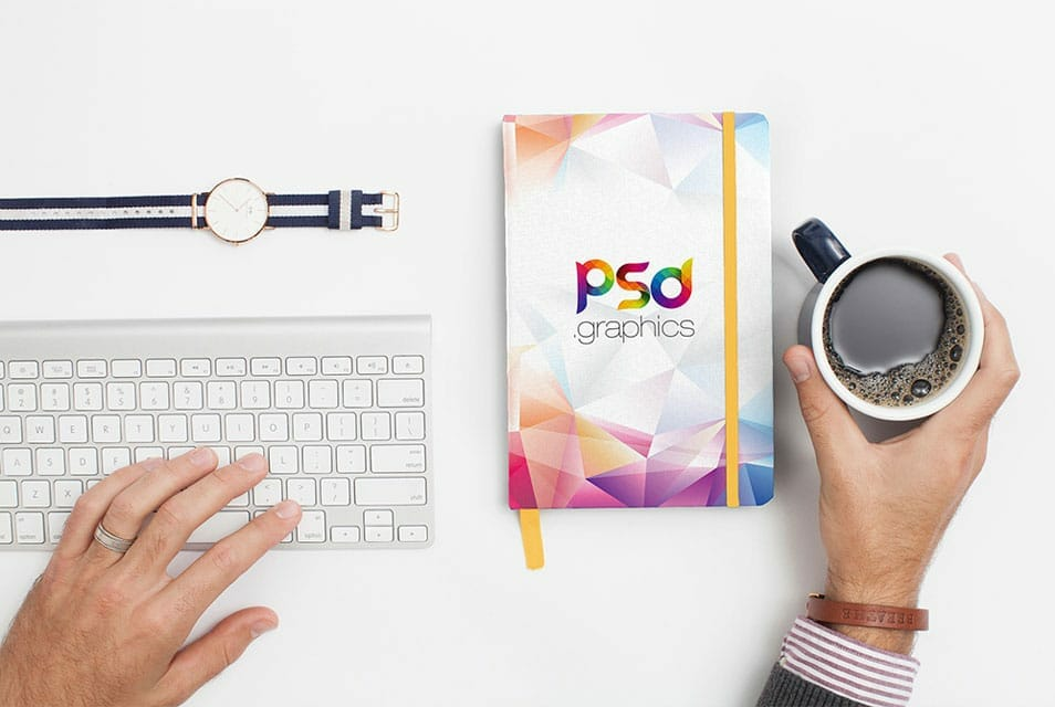 Notebook Cover Mockup Free PSD