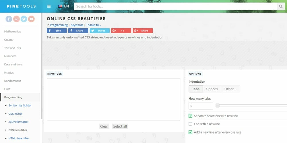 Pinetools CSS Beautifier