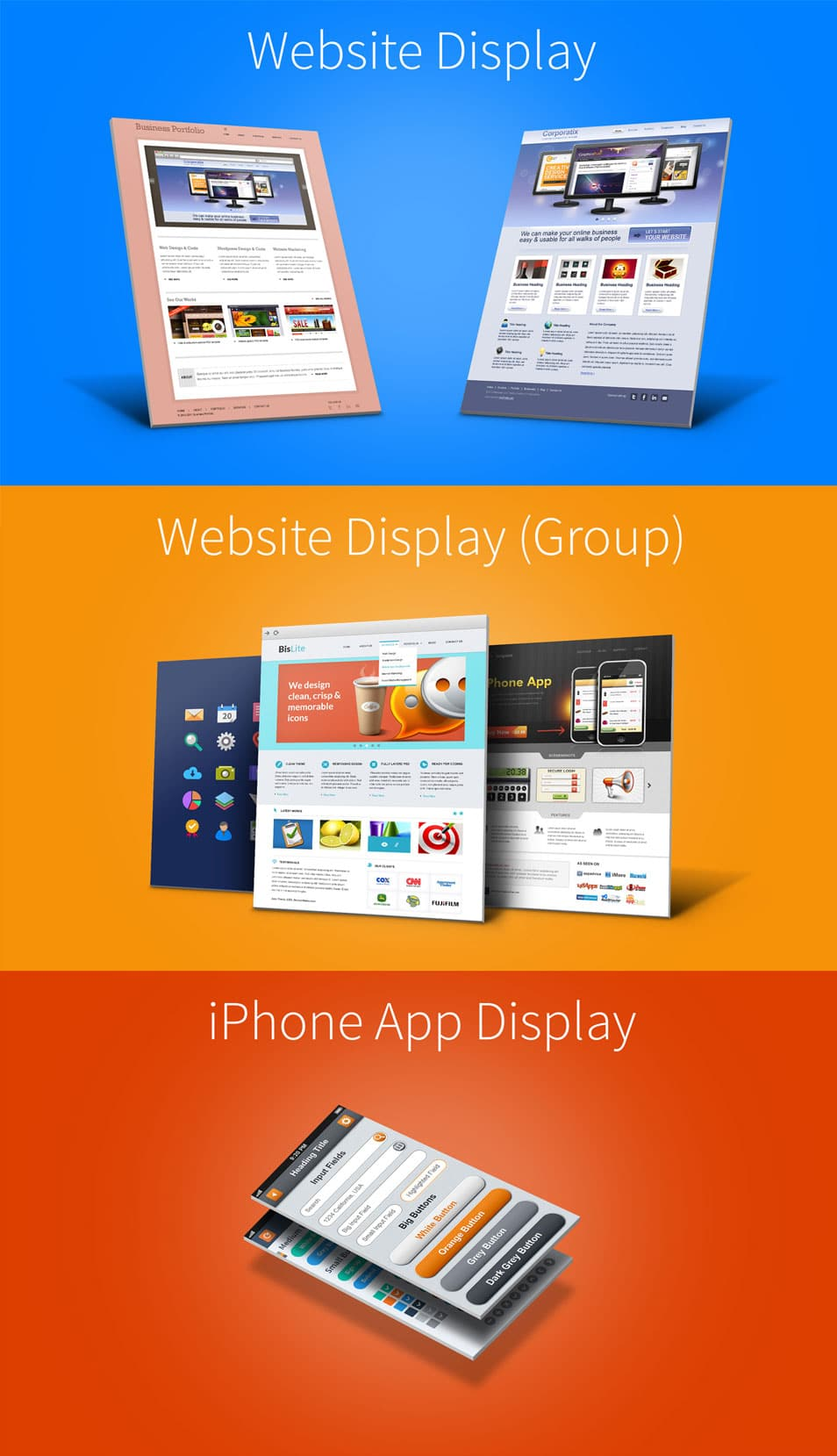 Website & iPhone 5 3D Display Mockups