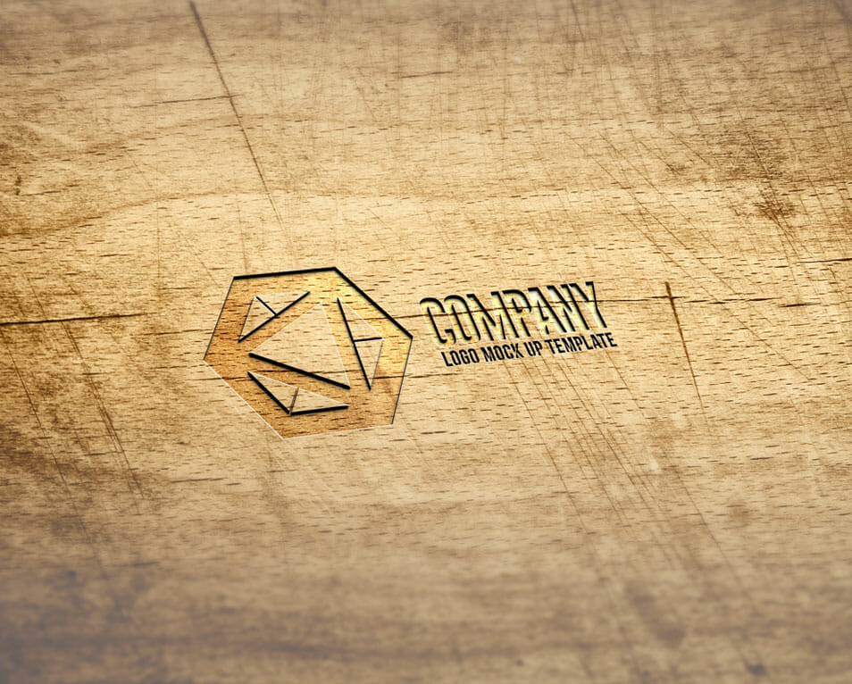 Wooden Area Engraved Effect Logo Mockup