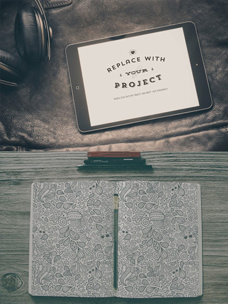 iPad and Book Mockup Template Set