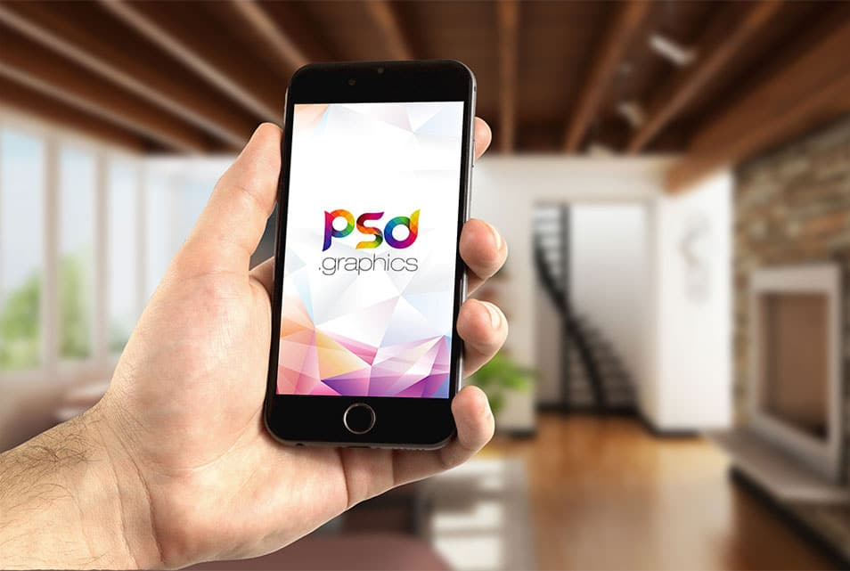 iPhone in Hand Mockup PSD