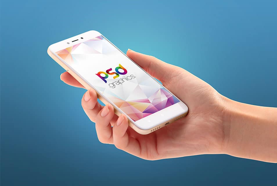 Android Smartphone in Hand Mockup Free PSD
