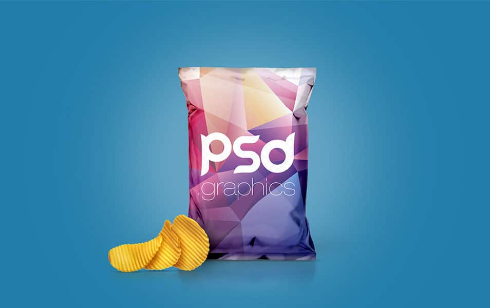 Chips Foil Bag Packaging Mockup Free PSD