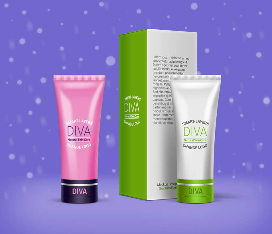 Cosmetic Cream Tube & Box Mockup