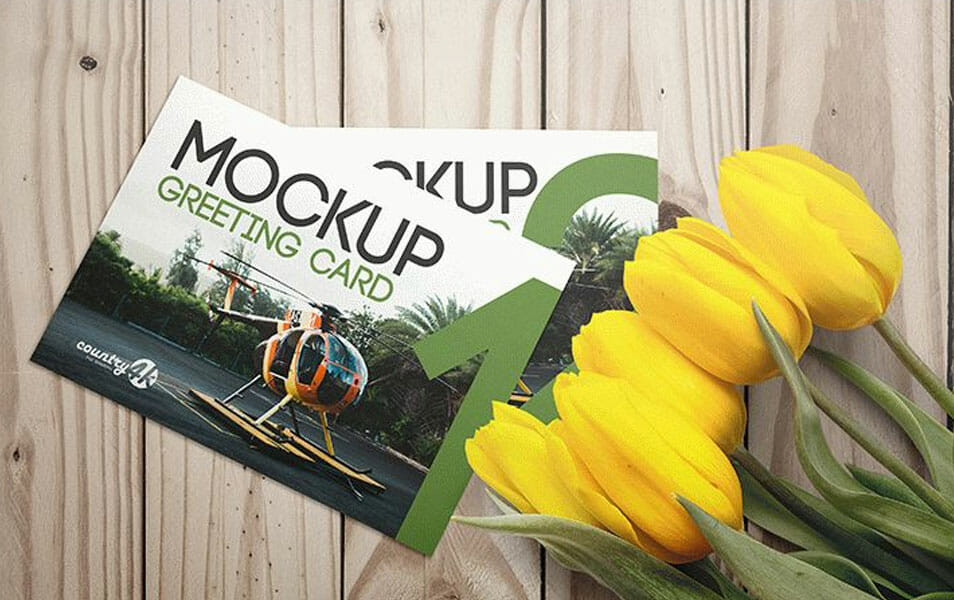 Free 3 PSD Mockups Greeting Card