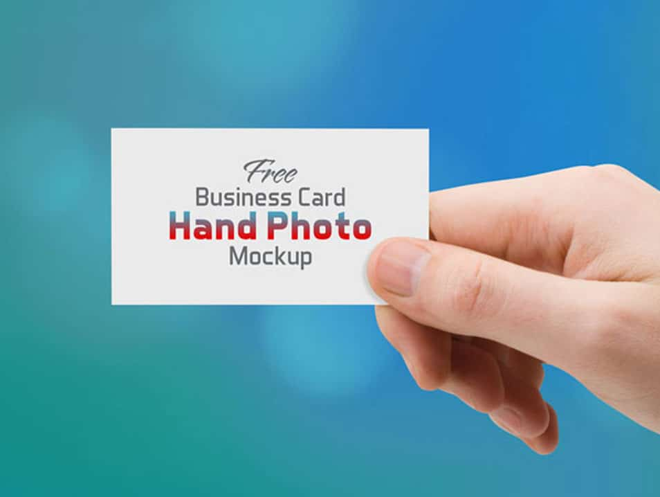 Free Business Card Hand Photo Mock-up PSD