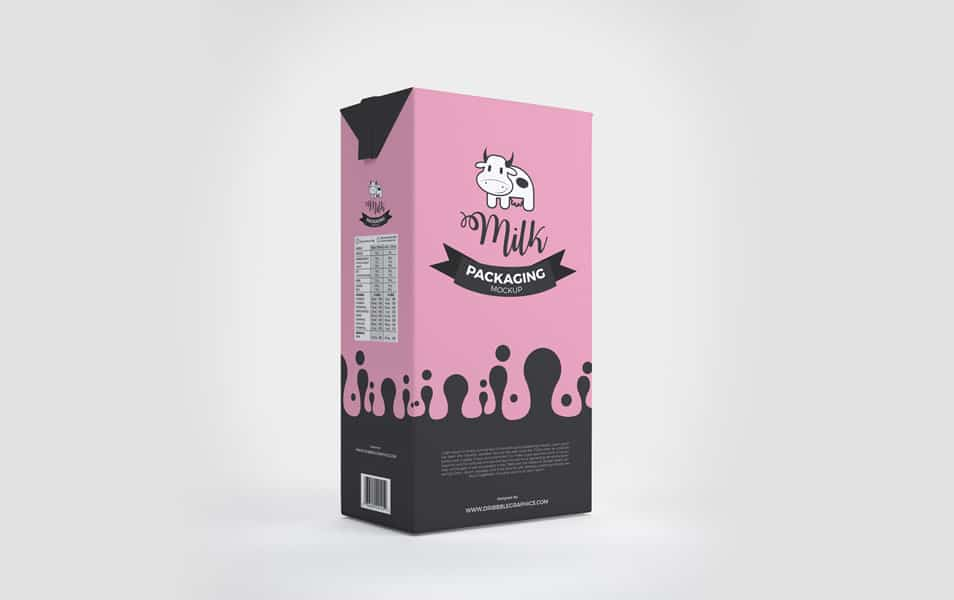 Free Milk Box Packaging Mockup