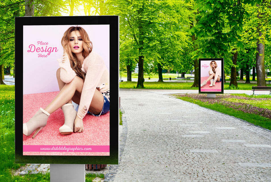 Free Outdoor Park Advertisement Billboard Mockup
