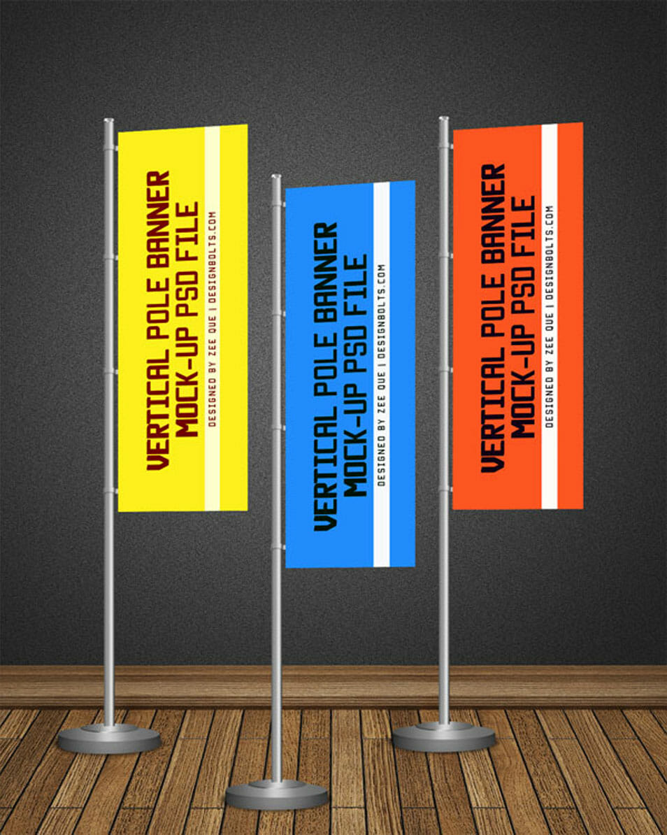 Free POS Vertical Flag / Pole Banner Mock-up PSD