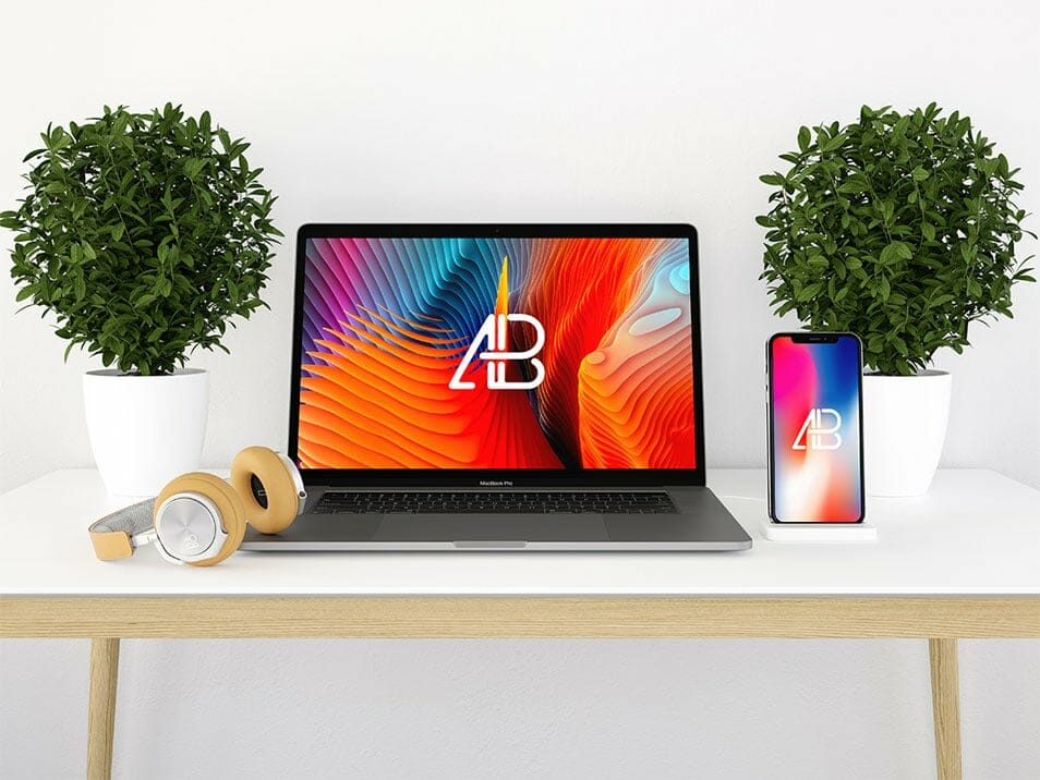 Modern iPhone X and Macbook Pro Mockup
