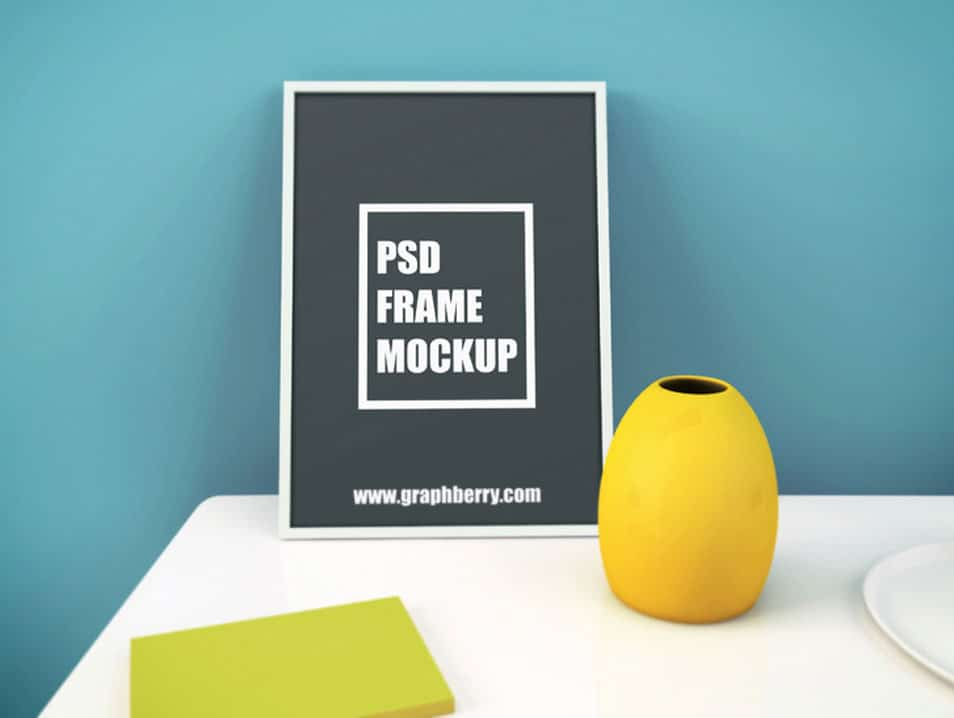 Picture Frame On Table Psd Mockup Css Author