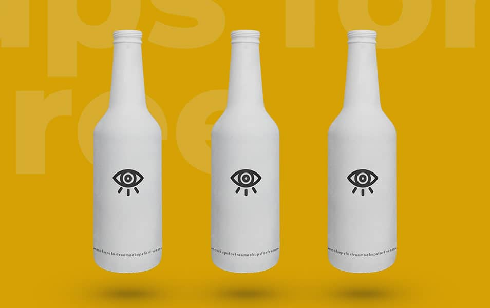 White Beer Bottle With Lid Mockup