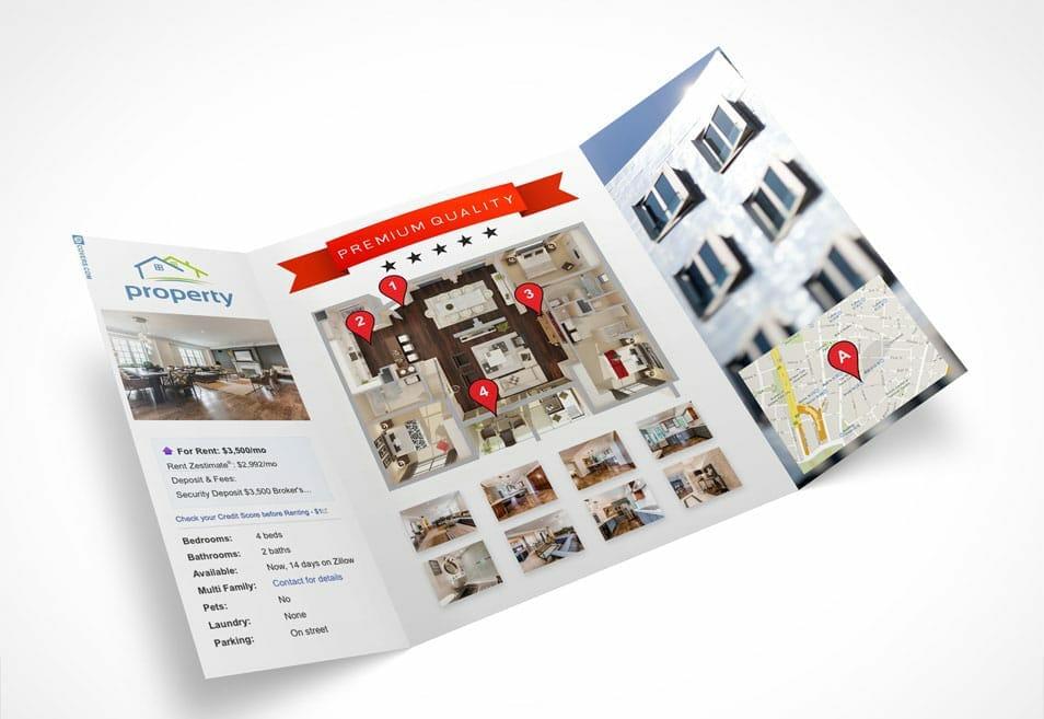 Open Gatefold Tri Fold Brochure Mockup