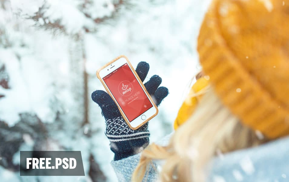 Free Mockup Girl with Phone 6 in Forest