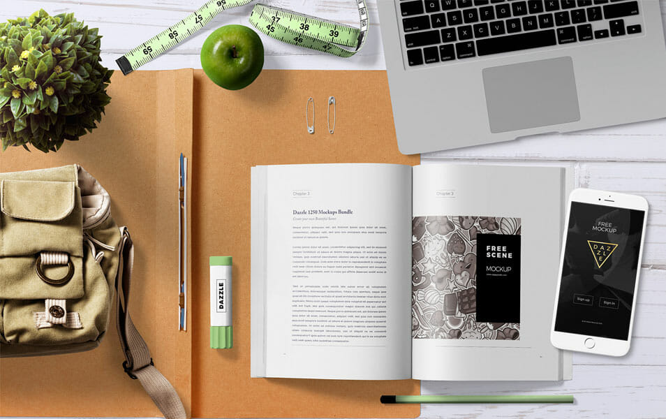 Free Attractive Book Mock Up Scene