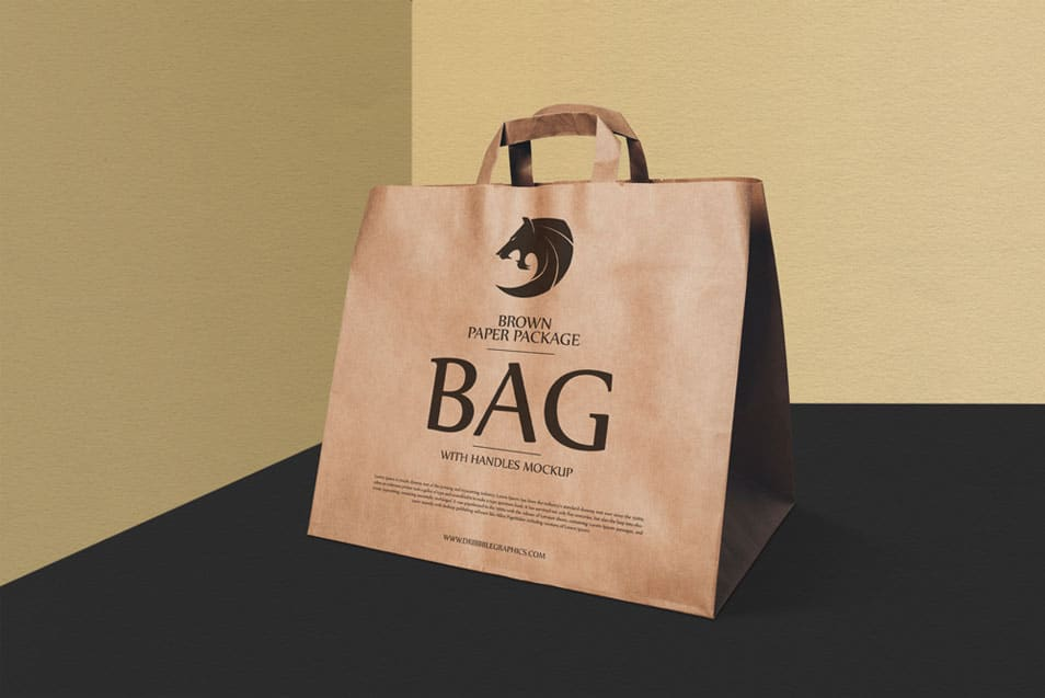 Free Brown Paper Package Bag With Handles Mockup