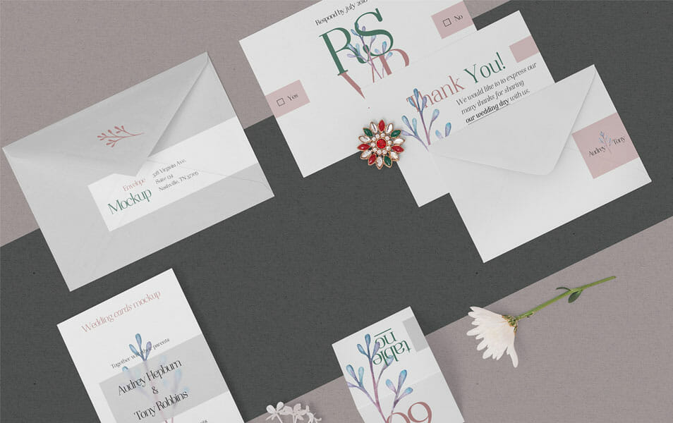 Free Elegant Wedding Stationery Mockup