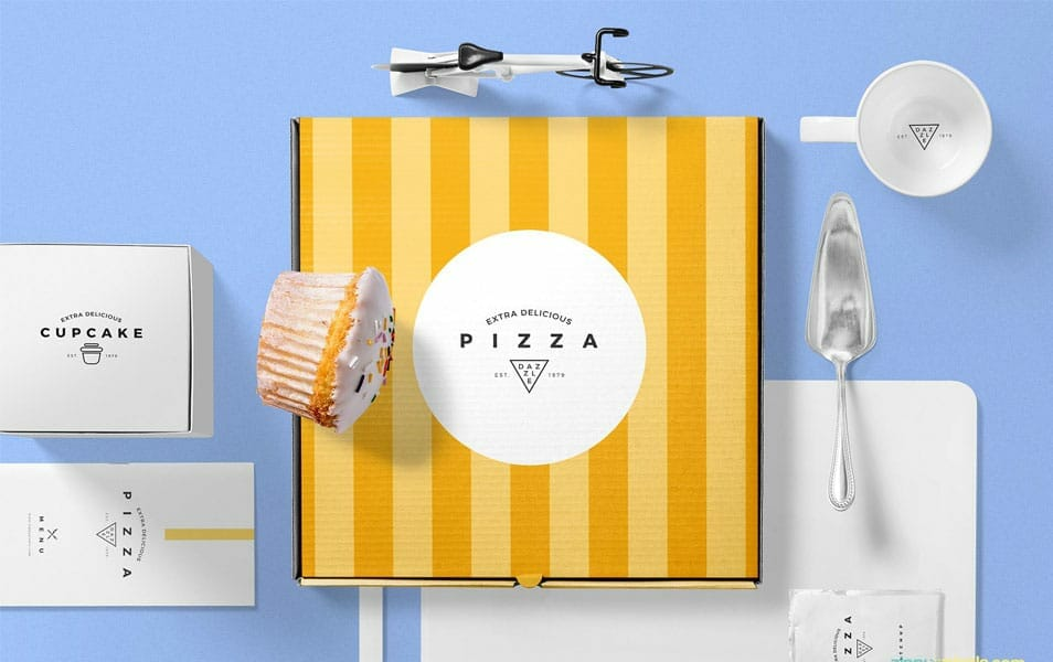 Free Pizza Packaging Mockup Scene