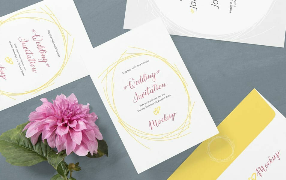 Free Wedding Card Mockup PSD