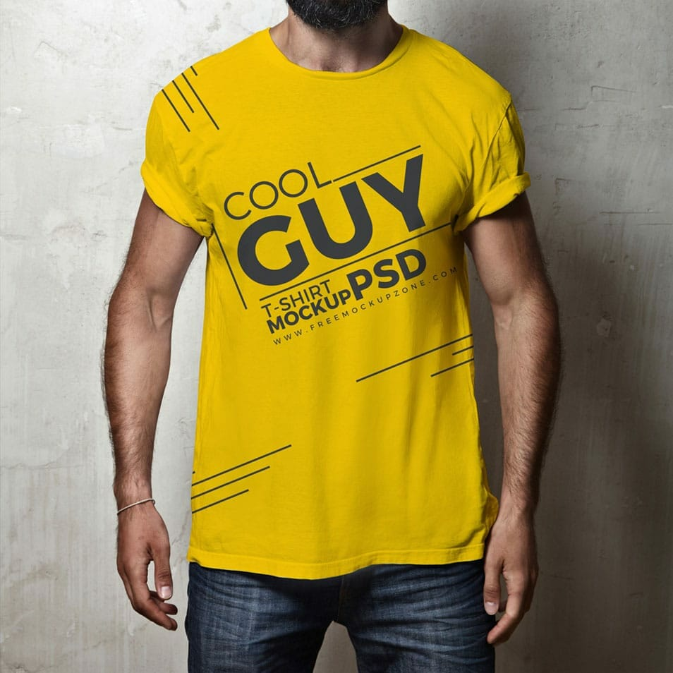 Free Cool Guy T-Shirt MockUp PSD