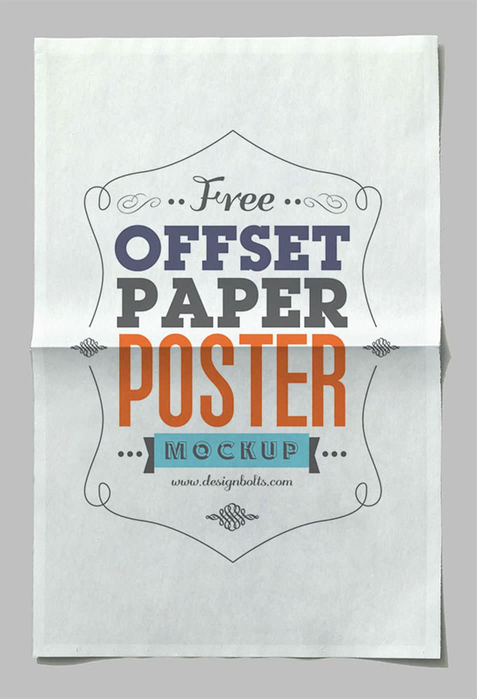 Free Offset Paper Horizontal Poster Mock-up