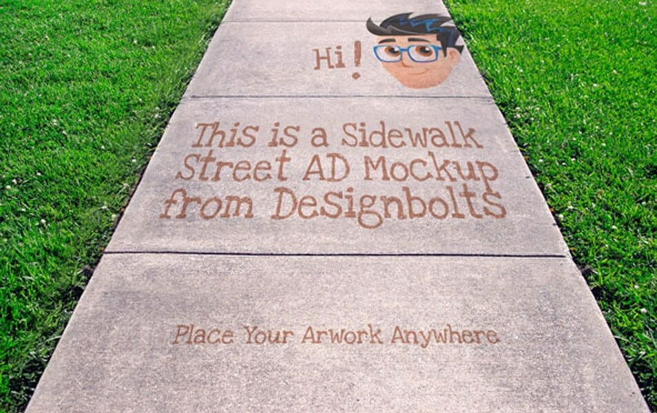 Free Sidewalk Street Advertising Outdoor Mock-up PSD