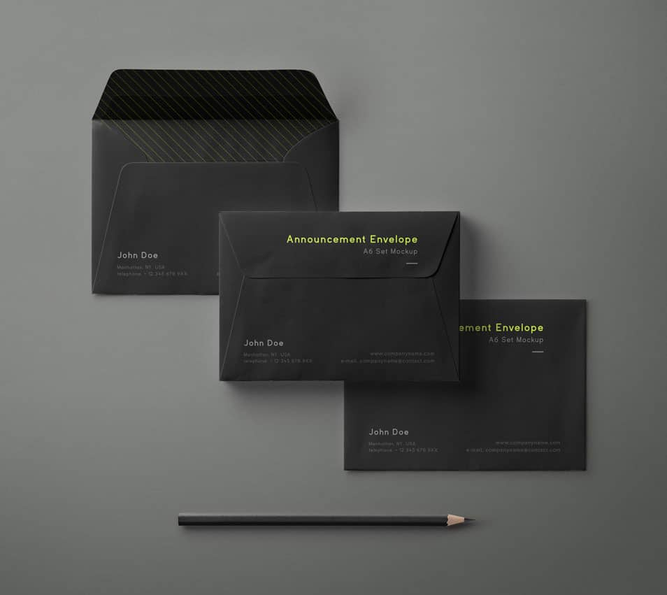 PSD Envelope Mockup Set A6