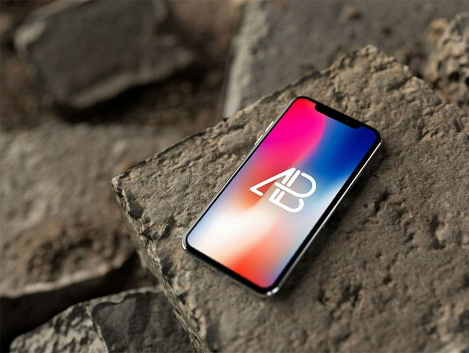 iPhone X on Rocks Mockup