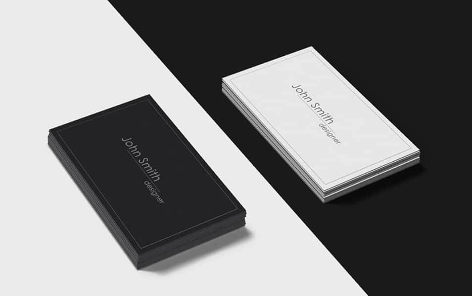 Black and White Business Cards Mockup