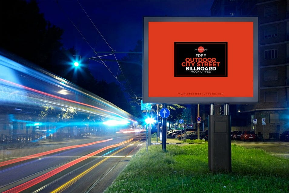 Free Outdoor City Street Billboard Mock-up For Advertisement