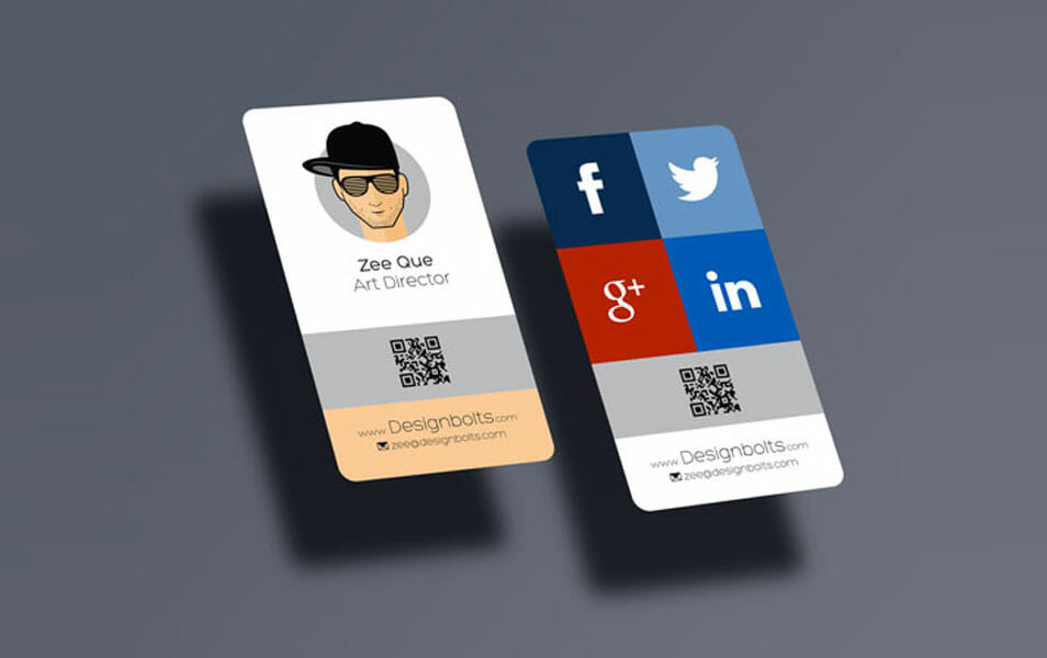 Free Rounded Corner Vertical Business Card Mock-up PSD