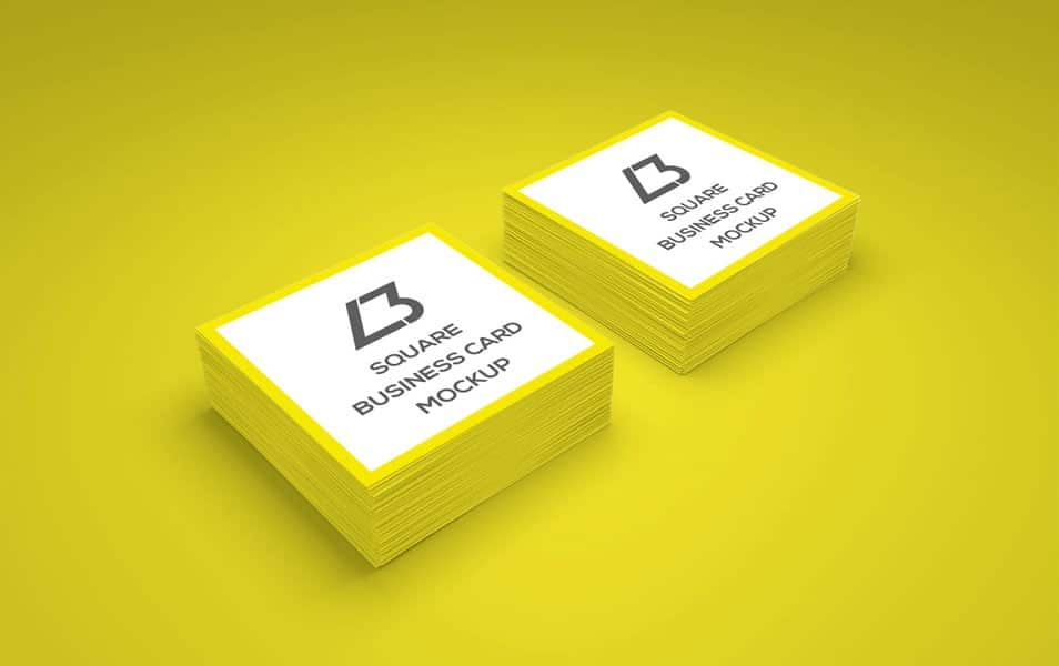 Free Square Business Card PSD Mockup