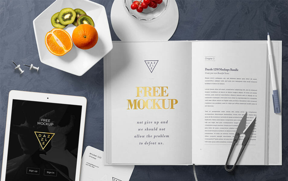 Free Stylish Book Page Mockup Scene