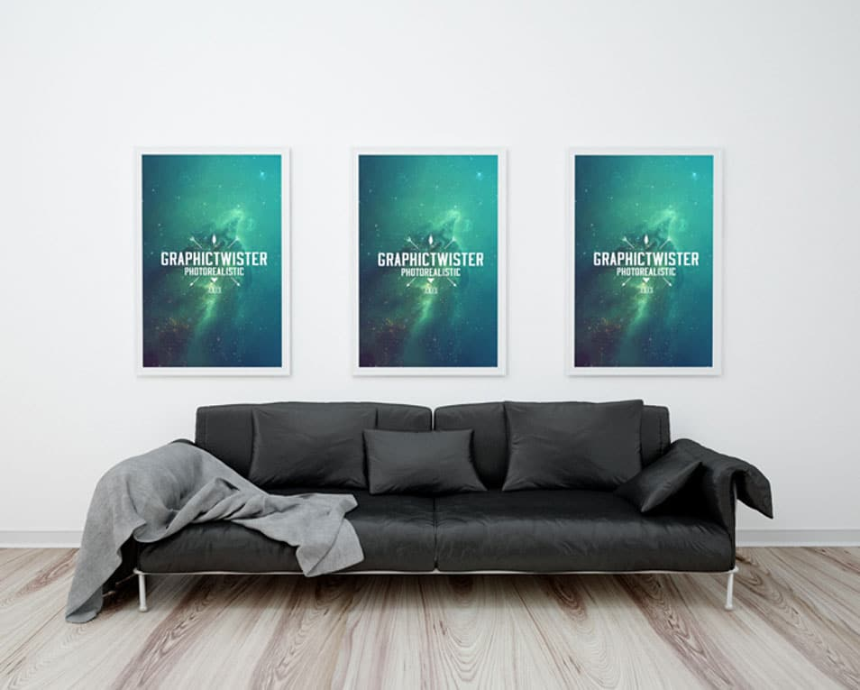 Triple Poster Frame With Sofa Mockup