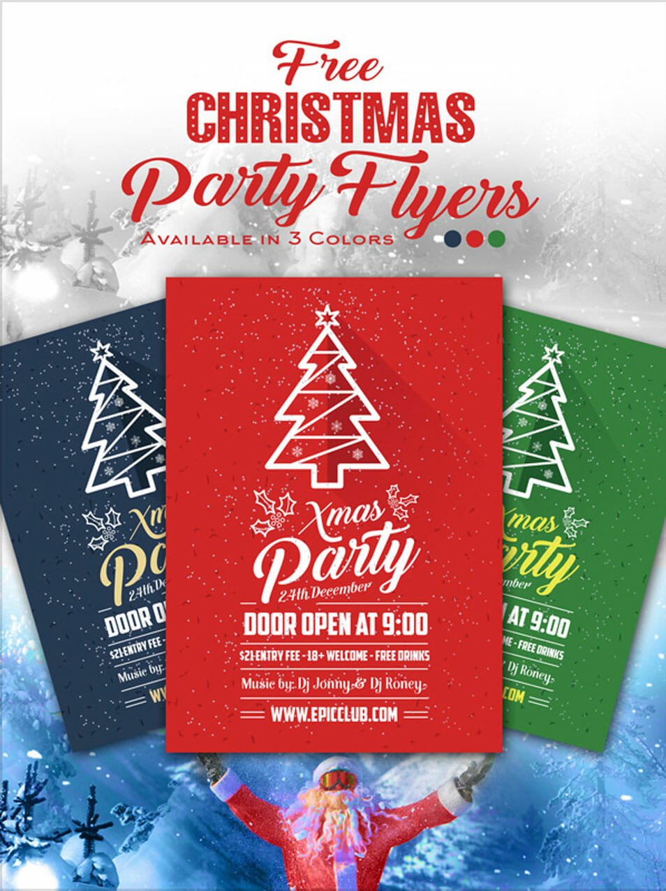 Free A4 Christmas Party Flyer Design Template Mock Up Psd Css Author