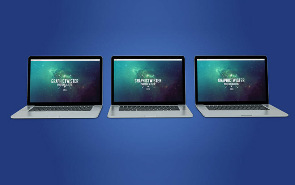 Triple Mac Book Pro Mockup