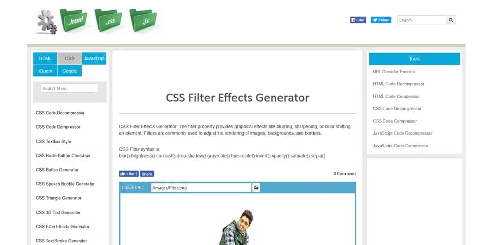 CSS Filter Effects Generator
