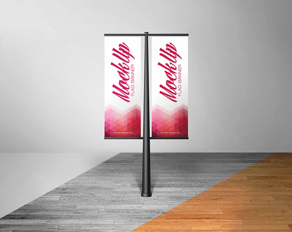 Free Flag Banner Mock-up in PSD