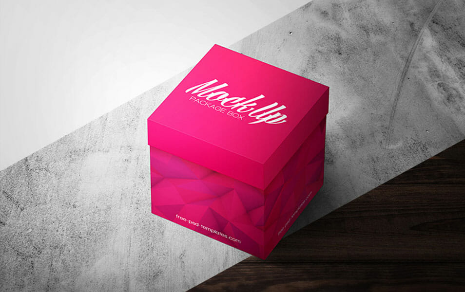 Free Square Package Box Mock-up in PSD